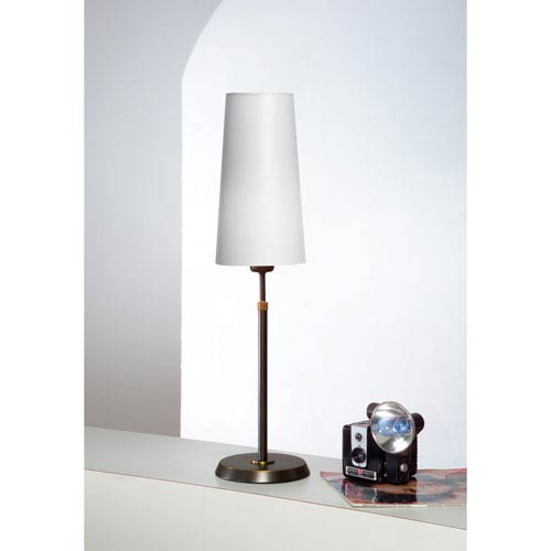Bronze One-Light Table Lamp with Narrow Satin White Shade
