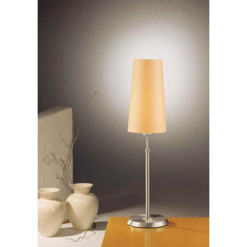 Satin Nickel One-Light Table Lamp with Narrow Kupfer Shade