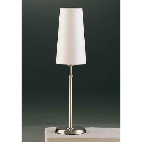 Satin Nickel One-Light Table Lamp with Narrow Satin White Shade