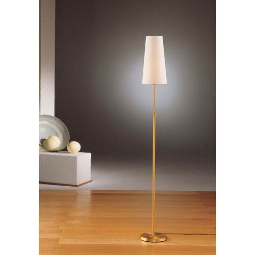 Brushed Brass One-Light Floor Lamp with Narrow Satin White Shade
