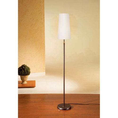 Bronze One-Light Floor Lamp with Narrow Satin White Shade