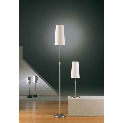 Satin Nickel One-Light Floor Lamp with Narrow Satin White Shade