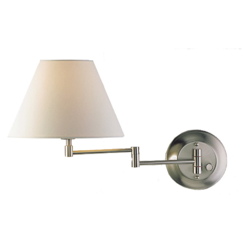 Satin Nickel Shaded Swing Arm Sconce