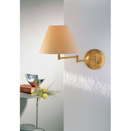 Brushed Brass Swing Arm Sconce w/ Kupfer Shade
