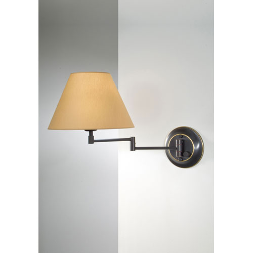 Hand Brushed Old Bronze Swing Arm Sconce w/ Kupfer Shade