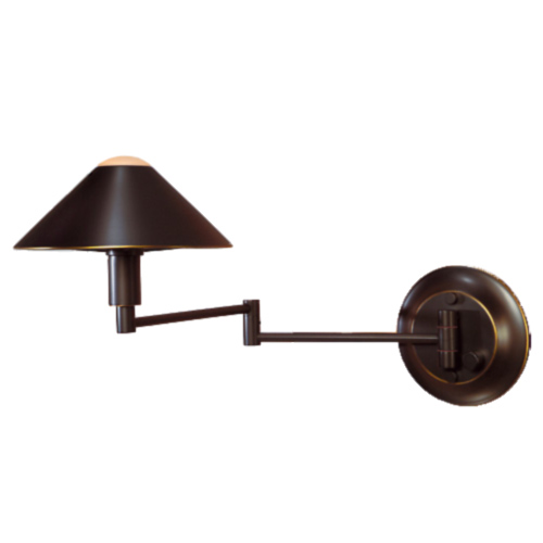 Metal Shaded Halogen Swing Arm Sconce