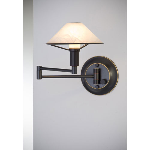 Lighting For the Aging Eye Hand Brushed Old Bronze Swing Arm Sconce w/ Alabaster White Glass