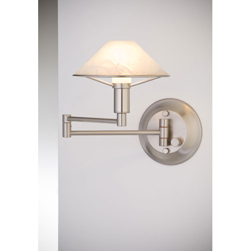 Lighting For the Aging Eye Satin Nickel Swing Arm Sconce w/ Alabaster White Glass