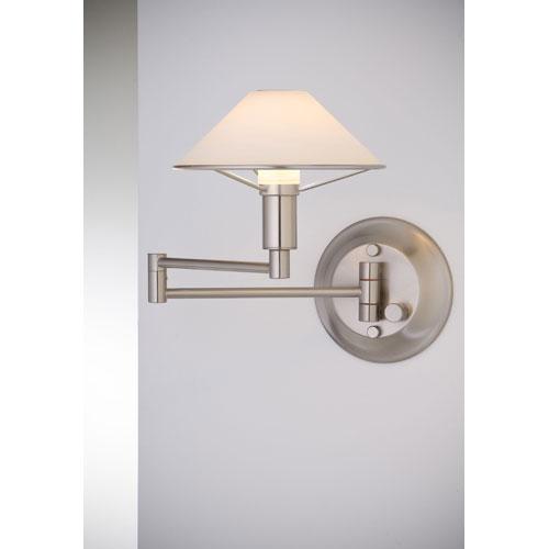 Lighting For the Aging Eye Satin Nickel Swing Arm Sconce w/ True White Glass