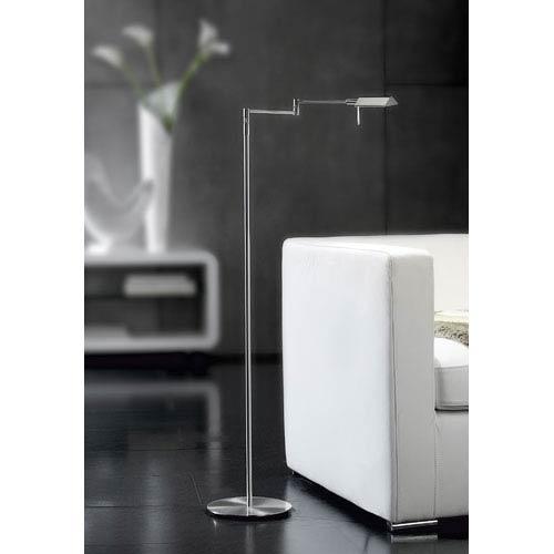Satin Nickel LED Swing Arm Floor Lamp