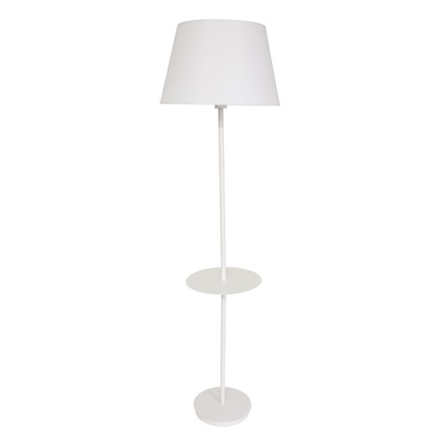 Vernon White Three-Light Floor Lamp with Table