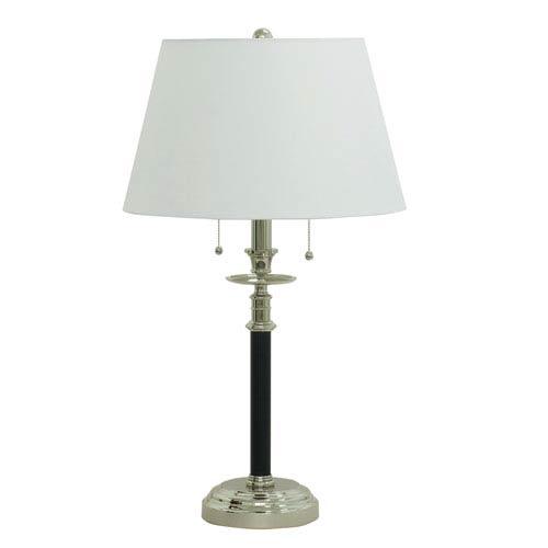 Bennington Black with Polished Nickel Two-Light  Table Lamp