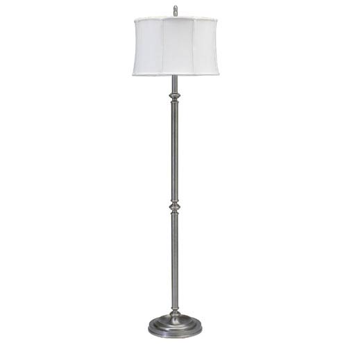 House Of Troy Coach Antique Silver 61-Inch One-Light Floor Lamp with White and Cream Silk Shade