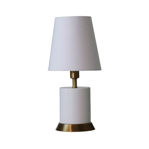Geo White with Weathered Brass Accents One-Light Cylinder Accent Lamp