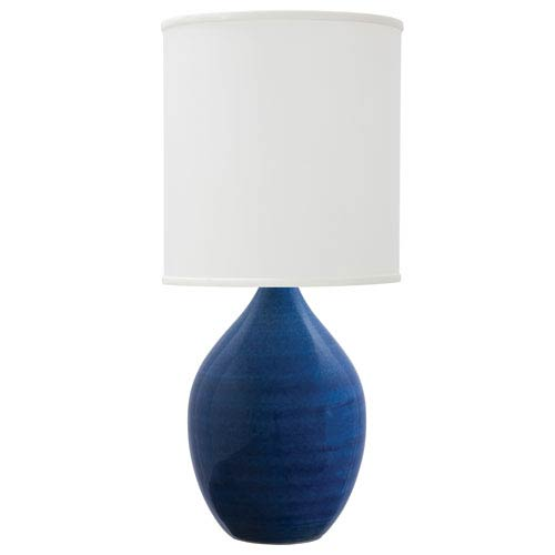House Of Troy Scatchard Blue Gloss 30-Inch One-Light Table Lamp