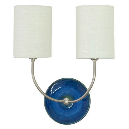 House Of Troy Scatchard Blue Gloss 14.5-Inch Two-Light Wall Sconce