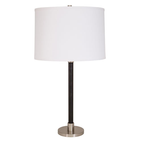 Hardwick Satin Nickel with Black Leather Four-Light Table Lamp