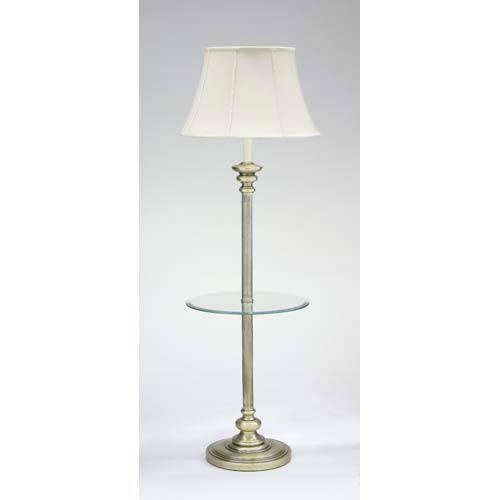 Antique Brass Floor Lamp with Table
