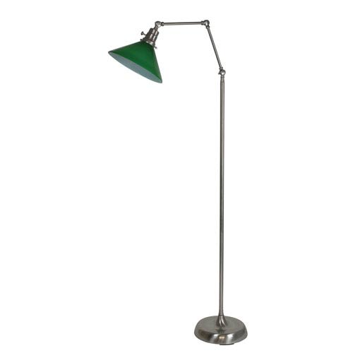 House Of Troy Otis Satin Nickel 49-Inch One-Light Floor Lamp with Green Shade