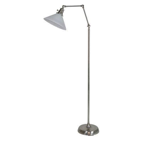 House Of Troy Otis Satin Nickel 49-Inch One-Light Floor Lamp with White Shade