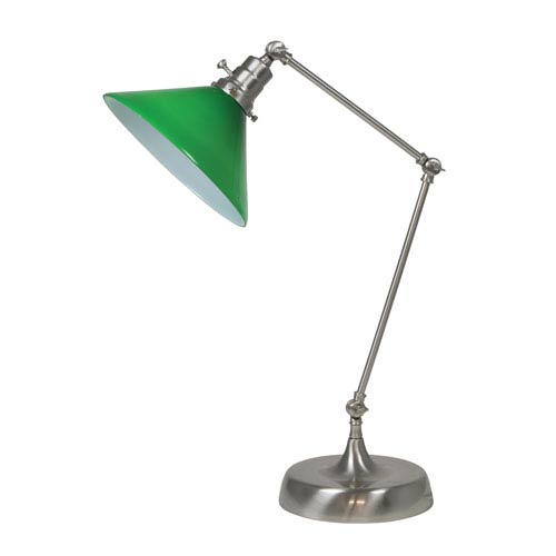 House Of Troy Otis Satin Nickel 26-Inch One-Light Table Lamp with Green Shade