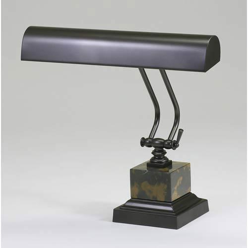 14-Inch Mahogany Bronze/Black and Tan Marble Piano/DeskLamp