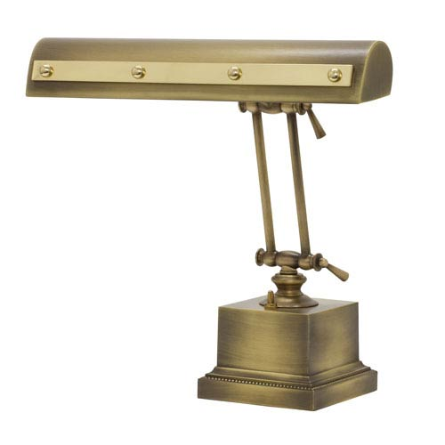 House Of Troy Antique Brass with Polished Brass Accents 14-Inch Two-Light Desk Piano Lamp with Rivet Motif