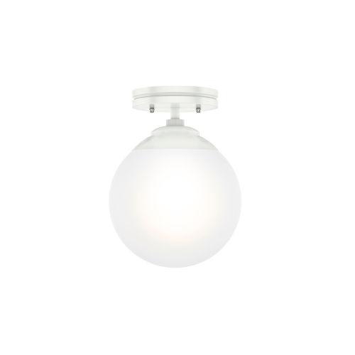Hepburn White Eight-Inch One-Light Semi Flush Mount