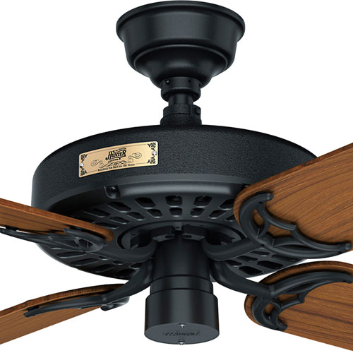 Hunter Fans Original Black And Teak 52 Inch Adjule Ceiling Fan