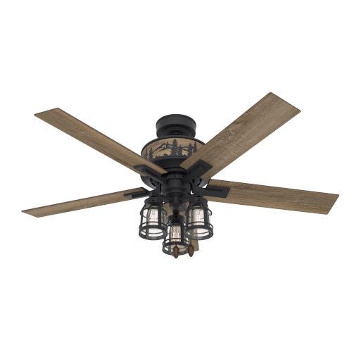 Vista Natural Iron 52-Inch Three-Light LED Ceiling Fan