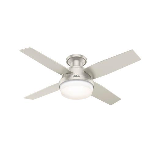 Dempsey Matte Nickel 44-Inch Outdoor Two-Light LED Ceiling Fan