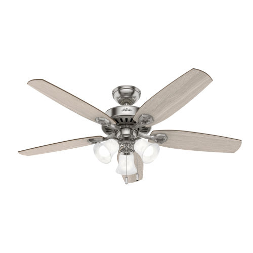 Builder Brushed Nickel Three-Light LED 52-Inch Ceiling Fan