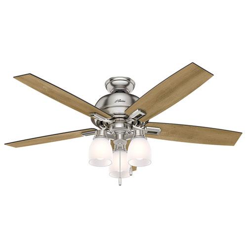 Donegan Brushed Nickel 52-Inch Three-Light LED Adjustable Ceiling Fan