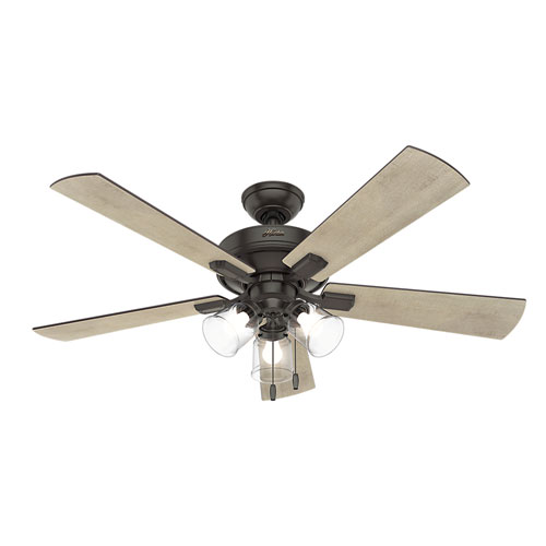 Hunter Summerlin 48 Noble Bronze Ceiling Fan With Light: Adjustable Ceiling Fan