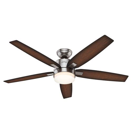 Windemere Brushed Nickel Two Light 54-Inch Ceiling Fan with Light and Remote