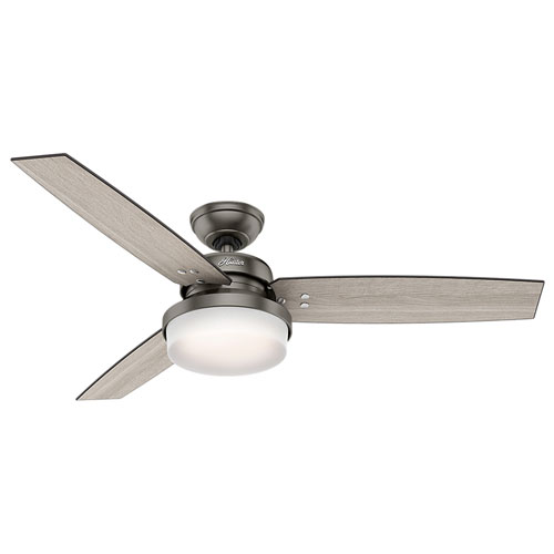 Sentinel Brushed Slate 52-Inch Two-Light LED Adjustable Ceiling Fan