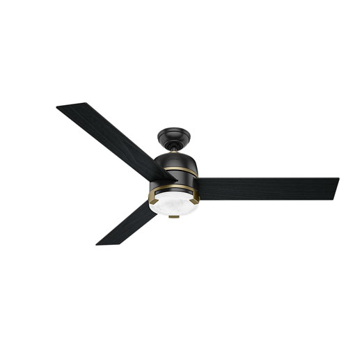 Bureau Matte Black and Modern Brass 60-Inch One-Light LED Adjustable Ceiling Fan