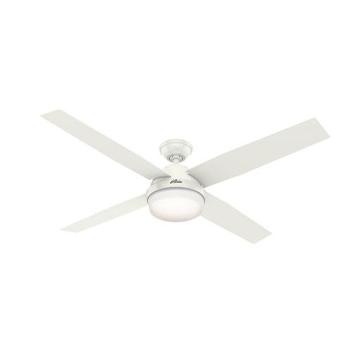 Hunter Fans Dempsey Fresh White 60-Inch Two-Light LED Adjustable Ceiling Fan