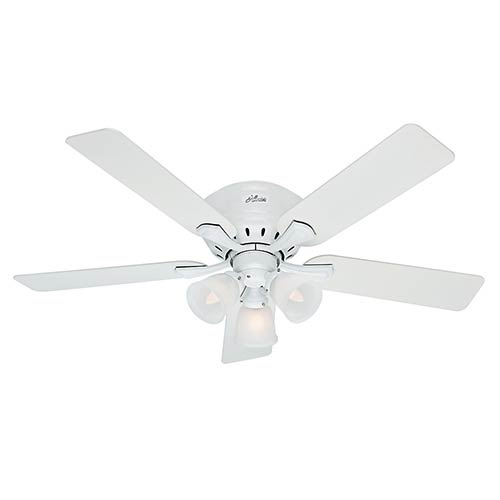 Hugger Ceiling Fans Without Light: Hunter Fans Reinert Snow White Three Light 52 Inch Hugger