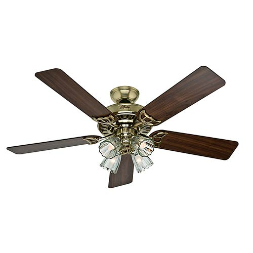 Studio Series Hunter Bright Brass Four Light 52-Inch Ceiling Fan