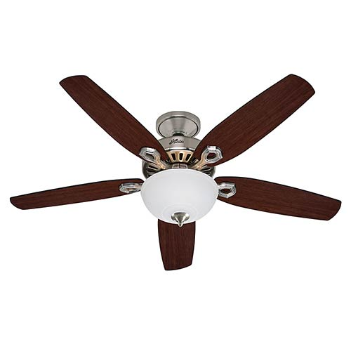 Builder Deluxe Brushed Nickel Two Light 52-Inch Ceiling Fan