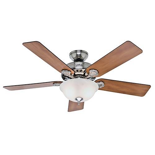 Hunter Fans Pros Best Five Minute Fan Brushed Nickel Fluorescent Two Light 52-Inch Ceiling Fan
