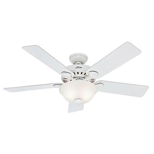 Pros Best Five Minute Fan White Fluorescent Two Light 52-Inch Ceiling Fan