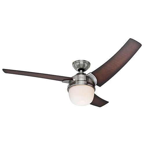 Eurus Brushed Nickel Fluorescent One Light 54-Inch Ceiling Fan