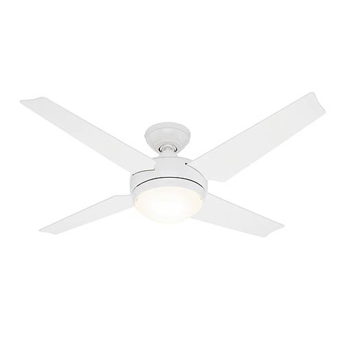 Hunter Fans Sonic White One Light 52 Inch Energy Star Ceiling Fan And Remote