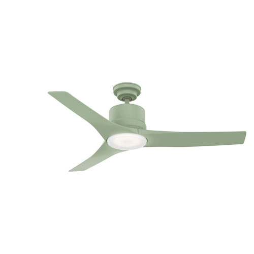 Piston Soft Sage 52-Inch LED Outdoor Ceiling Fan with Handheld Remote