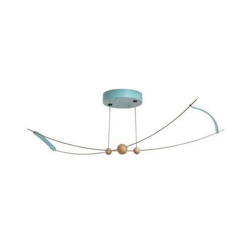 Copernicus Satin Aqua LED Semi-Flush Mount with Wood Accent