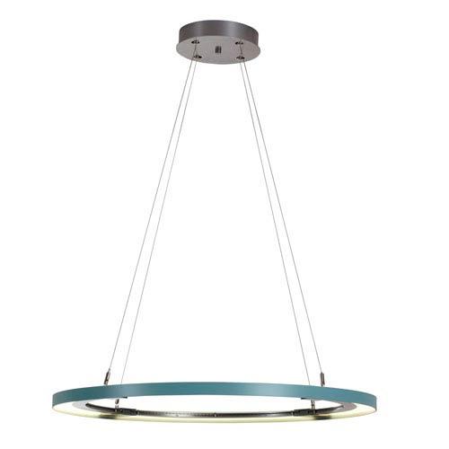 Ringo Silver LED Pendant with Satin Aqua Accent