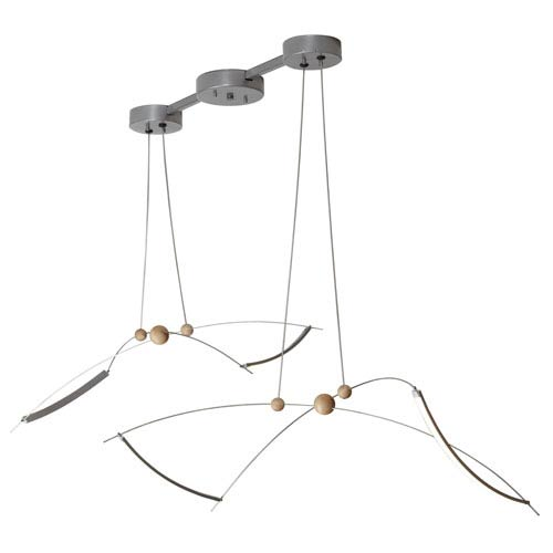 Copernicus Silver Long LED Linear Pendant with Wood Accent