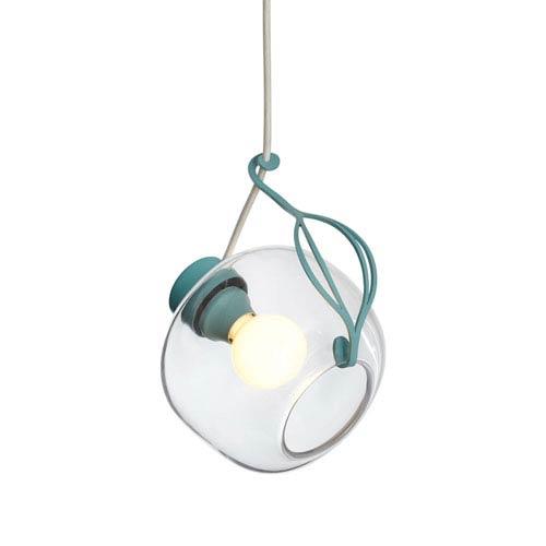 Sinker Satin Aqua One-Light Mini Pendant with White Cord